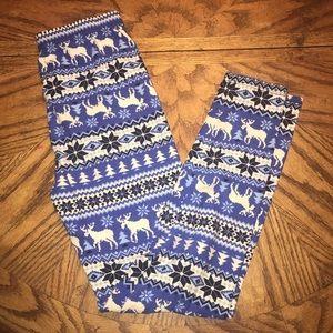 Other - Girls Legging Blue White Moose Snow